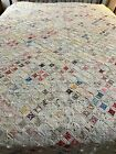 1970s+Calicos++Vintage+Handmade+Cathedral+Window+Quilt+96x87+Queen+%23498