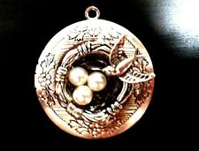 "TREE OF LIFE BIRDS pearl eggs PHOTO LOCKET NECKLACE on Sterling Silver 18"" Chain"
