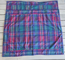 Vtg Plaid Madras Standard Pillow Shams Cases Purple Blue Pink Teal Cotton Pair