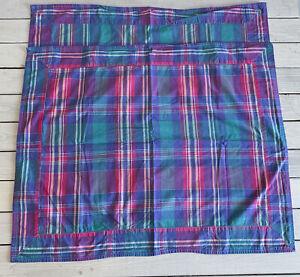 Vtg Plaid Madras Standard Pillow Shams Cases Purple Blue Pink Teal Cotton Pair