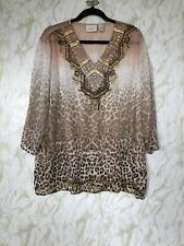Chicos 3 Sheer V-neck 3/4 Sleeve Top Blush Brown Gold Leopard Sequins Embroidery
