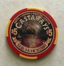 2000 CASTAWAYS ~ 2001 NEW YEARS ~ $5 CASINO CHIP ~ LTD EDITION ~ LAS VEGAS, NEV!