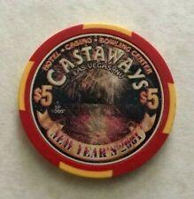 2000 CASTAWAYS ~ 2001 NEW YEARS ~ $5 CASINO CHIP ~ LTD EDITION ~ LAS VEGAS, NEV!