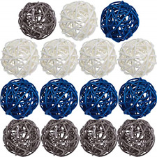 15 Pieces Wicker Rattan Balls Decorative Craft Party 2 Inch Blue Gray White