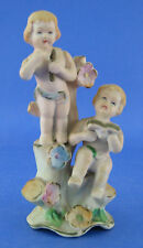Bisque Vintage Cherub Angel Figurine Flute Pipe Book Flowers AS IS