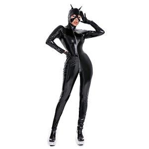 Women Plus Size Bodysuit Wetlook Leather Zipper Catsuit with Mask Party Clubwear