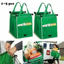 2/4/5 pcs Shopping Reusable Eco Clip-To-Cart Trolley Supermarket Bag Foldable US