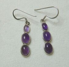 VINTAGE AMETHYST STERLING SILVER  PIERCED DROP EARRINGS -    SN489