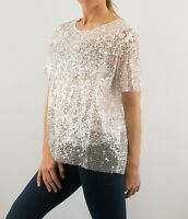 NEW Ladies NEW LOOK Sequin Party Special Occasion Top Ivory White RRP £24.99