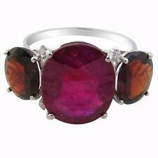 De Buman 10K White Gold 6.438 ctw Ruby with Garnet & Diamond Ring, Size 7.5