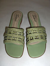 TROTTERS SIZE 6 W GREEN ANNETTE SLIP ONS SHOES SANDALS OPEN TOES MULES