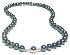 """Genuine Cultured Black Pearl Necklace 17.5"""" 8-9MM AAA"""