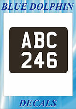 Moto D'Epoca Post. Targa Reg Adesivo Numeri & Lettere Bianco