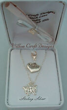 UNIQUE HALLMARKED STERLING SILVER BUTTERFLY 'SISTER' NECKLACE & FREEBIE GIFT