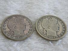 1907 & 1912 S Barber Half Dollars 50c