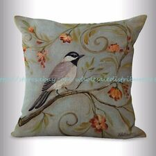 US SELLER, retro bird flower cushion cover house interior decorating