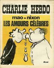 """CHARLIE HEBDO N°67 du 28/2/1972"" REISER : LES AMOURS CELEBRES (MAO - NIXON)"