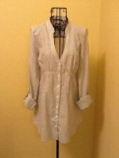 GUESS Women Aubrey Shimmery White Button Down Dress Size M