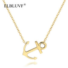 ELBLUVF Stainless Gold Plated Women Sideways Anchor Necklace Hope Jewelry Gift