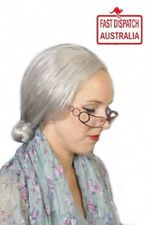 Deluxe Grey Granny Wig Mrs Claus Costume Accessory Old Lady Nana Braided Bun