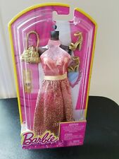Barbie Fashion Dress Peach & Gold Glitter 2013 NRFB Mattel BLT15