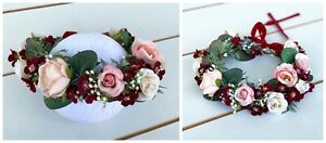 Floral Crown - Flower Wreath Fairy Halo Wedding Headband Pink, Cream & Burgundy