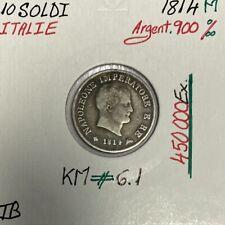 ITALIE - 10 SOLDI 1814 M - NAPOLEON - Pièce de Monnaie en Argent // Qualité : T