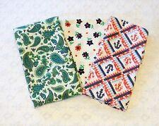 Vintage Retro Paisley Nautical Floral Cotton Duck Fabric Lot 3pc 4yds