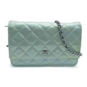 Chanel Quilted CC SHW Wallet Shoulder Bag Patent Leather Blue 4535