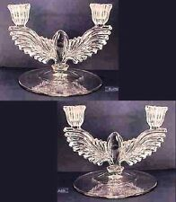 Radiance, Crystal Eagle 2 New Martinsville Glass Winged Double Candelabra Pair