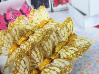 """12 Polyester 1.5"""" Craft Butterfly with Wire/Floral Decoration L68-Gold Glitter"""