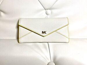 Michael Kors MK Money Large Slim Trifold Envelope Wallet White Yellow~ NWT$128