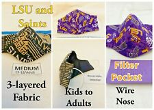 New Orleans Saints and LSU Tigers 3-layered Fabric Mask, Reversible, Washable