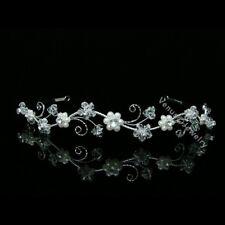 Bridal Wedding Veil Crystal Pearl Headband Tiara 7598