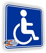 Sticker Handicap -Modèle Homme - 10 cm x 10 cm - Liseret Bleu