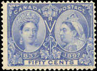 1897 Mint NH Canada F Scott #60 50c Diamond Jubilee Stamp