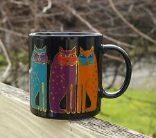 Laurel Burch Black Coffee Mug Cup Three Siamese Cats Kitty Made in Japan
