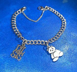 James Avery Medium Light Double Curb Charm Bracelet W/ 2 Charms Panda & Lil Sis