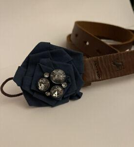 NWT ABERCROMBIE KIDS Girls Sz S/M Navy Blue Flower Rhinestone Brown Leather Belt