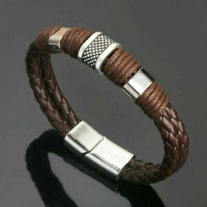Mens Boys Leather Braided Magnetic Buckle Surfer Wristband Bracelet Bangle Wrap