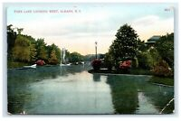 Postcard Park Lake Looking West, Albany, NY *corners* H18