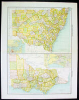 1890 Bartholomew Large Antique Map New South Wales & Victoria Australia