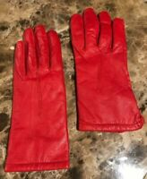 Vintage Grandoe Red Leather Thinsulate Cashmere? Lined Gloves Women's Sz 6.5