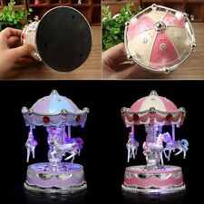 Vintage Horse Carousel Music Box Toy Light Clockwork Musical Birthday Gifts Xmas
