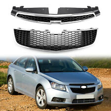2PCS Front Bumper Upper + Lower Grille Inserts Trim Covers For 09-14 Chevy Cruze