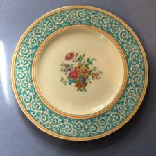 "Wedgwood Turquoise Praze floral center 10 1/2"" bone china dinner plate W1479"