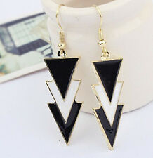 WONDERFUL Gold Metal Enamel Geometry Triangle Dangle Ear Stud Earrings LT