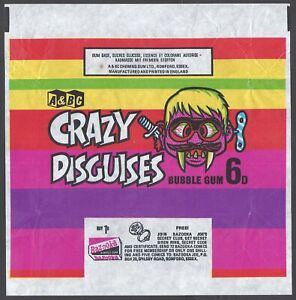 A&BC WRAPPER-CRAZY DISGUISES 1970 (OFFER SECRET SIREN RING)