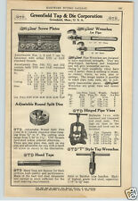 1924 PAPER AD Greenfield Tap & Die Plumber's Pipe Wrench Off Set 90 Degrees