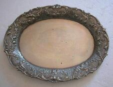 A FINE ANTIQUE GERMAN LOVELY DECORATED WITH ROSES SOLID SILVER SMALL OVAL TRAY